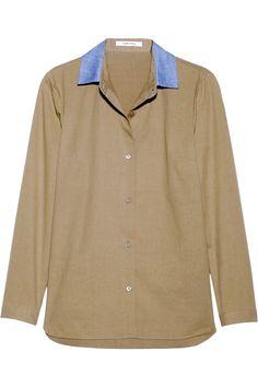 Carven|Contrast-collared cotton-poplin shirt|NET-A-PORTER.COM