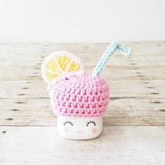 Pink Lemonade Lemon Marshmallow Mug Hat Rae Dunn Inspired Summer Spring Decor Farmhouse Kitchen Coffee Bar Decor handmade by me. Can be made in any colors. Custom orders always welcome Pink Lemonade Cheesecake, Pink Lemonade Frosting, Pink Lemonade Recipes, Pink Lemonade Party, Cute Marshmallows, Fabric Bunting, Tray Decor, Stuffed Toys Patterns, Yarn Crafts