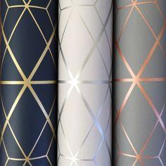 Metro Diamond Geometric Wallpaper – Charcoal and Copper – Diamant Geometrische Tapete Geometric Wallpaper Charcoal, Metallic Wallpaper, Modern Wallpaper, Grey And Gold Wallpaper, Easy Wallpaper, Salon Wallpaper, Copper Wallpaper, Home Wallpaper, Tapete Gold