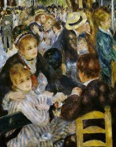 """Inner Faith Bright Panel for Robert Kaufman. panel of Pierre-Auguste Renoir's acclaimed painting """"Ball at the Moulin de la Galette"""". French Impressionist painting, sure to bring class to any interior. Suggested uses: wall art, quilting panel. Pierre Auguste Renoir, Renoir Paintings, Impressionist Paintings, August Renoir, Art Français, Art Through The Ages, Post Impressionism, Claude Monet, French Art"""