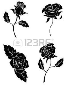 Illustration de rose vecteur dessin la main banque d 39 images windows color pinterest photos - Tatouage rose noire signification ...