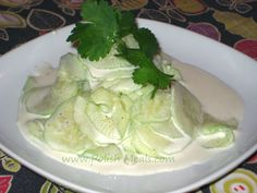Mizeria is a Polish traditional dish made from cucumbers in sour cream with dill. It usually is served chilled with some kind of hot meat dish and potatoes on the side (of course :). (1) From: Polish Meals, please visit
