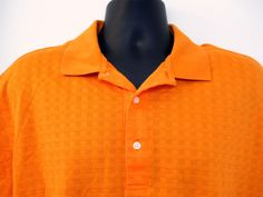 Mens Jack Nicklaus Orange Golf Polo Shirt Large Legacy 18 Cross Weave 3 Button #JackNicholas #PoloRugby