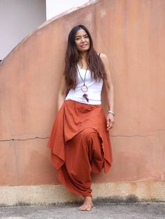 Harem Pants ...Yoga Wear...Dance Wear...Color Orange Yoga Wear, Dance Wear, Yoga Pants, Harem Pants, Trousers, Aladdin Pants, Drop Crotch Pants, Funky Design, Knit Leggings