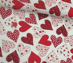 Vintage Basics Floral Hearts Red White