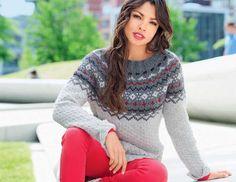 Серый свитер с жаккардовой кокеткой - схема вязания спицами. Вяжем Свитеры на Verena.ru