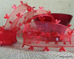 "Heart Edged Sheer Ribbon 1"" Red Scarlet 3 Yards Valentine Ribbon. $4.65, via Etsy."