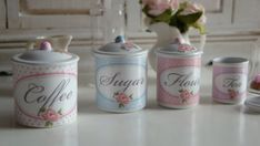 Shabby Chic Rose Canisters for Dollhouse
