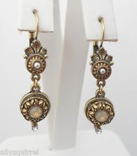 NEW SWEET ROMANCE VICTORIAN STYLE ROSETTE LEVERBACK EARRINGS SAND OPAL CRYSTALS