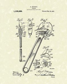 Wrench 1915 Patent Art Drawing by Prior Art Design