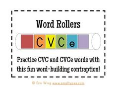 "Turn paper towel rolls into a Word Rollers: A fun little DIY spelling ""toy."" They are perfect to send home for students to build and practice their CVC and CVCe words. They also make a nice addition to word work centers. $1.20"