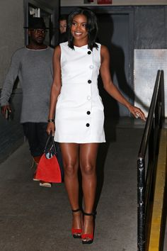 Going for an all-out mod moment, Union wore a white mini dress from ASOS which retails for $81 while out in New York.    - HarpersBAZAAR.com