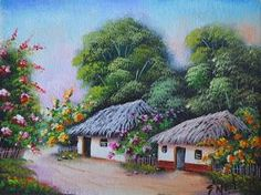 paisajes-colombianos-pintados-con-casitas-campesinas Paintings I Love, Beautiful Paintings, Landscape Art, Landscape Paintings, Village Drawing, South American Art, Painted Cottage, Nature Drawing, Z Arts