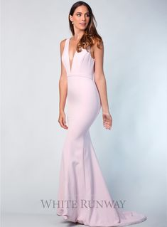 Alexii Gown. A stunning full length gown by Sofia Cali. A fitted style featuring a plunging v-neckline with mesh insert. #wedding #bridesmaidfashion #whiterunway #prom #redcarpet