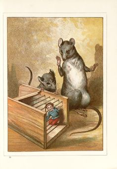 "zoomar: "" zoomar: "" He found himself in a wooden box with one slanting side, and iron bars at the top and on the other side. A strong smell of cheese prevaded the box. ""Hush, be quiet till I fetch puss, she will soon finish him. The Tribulation, Pocket Pet, Creepy Art, Ap Art, Book Illustration, Hush Hush, Photo Art, Kitty, Drawings"