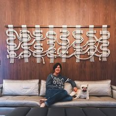 Katie, YooHoo and her white and gold Circuit Board on that stunning walnut wall. I've been dying to install it and it's as good as we all hoped. Macrame Design, Macrame Art, Macrame Knots, Weaving Projects, Macrame Projects, Weaving Art, Homemade Wall Decorations, Macrame Curtain, Textile Fiber Art