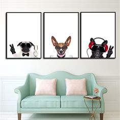 Modern Nordic Dog Listen To Music Animal A4 Art Prints Poster Cartoon Wall Pictures Canvas Painting No Framed Kids Room Decor