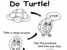 """Teaching 4 year olds how to feel better. """"Turtle"""" is a technique used in the Preschool PATHs curriculum to help students learn to calm down. Social Emotional Development, Social Emotional Learning, Counseling Activities, Therapy Activities, Coping Skills, Social Skills, Life Skills, Protective Behaviours, Therapy Tools"""