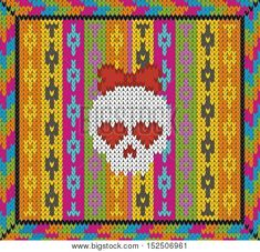 Pattern with skull and ethnic mexican elements. Day of the dead, a traditional holiday in Mexico. For postcard or celebration design. Traditional Latin American patterns and ornaments, colorful patterned skull. Wool knitted texture. Vector Illustration poster