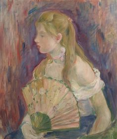 Young Woman with Fan - Berthe Morisot - (French: 1841-1895)