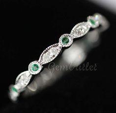 Beautiful VS Peridot 14K White Gold Diamonds Full Eternity Band Wedding Band Ring