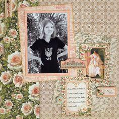 """Hello Beautiful"" vintage style 12x12 scrapbook layout"