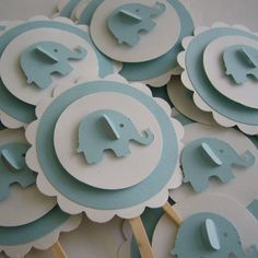 Blue Elephant Cupcake Toppers by Whimsiesbykaren on Etsy, $4.25