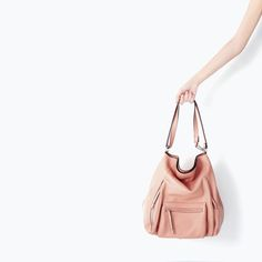 LEATHER BUCKET BAG WITH FRONT POCKET from Zara