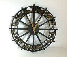 "Vintage 1970's Starburst Zodiac Astrological Wall Clock 16-1/8"" wide"