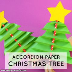 This little accordion paper Christmas tree has to be the cutest little holiday project to make with your kids ever. This little accordion paper Christmas tree has to be the cutest little holiday project to make with your kids ever. Christmas Tree Crafts, Preschool Christmas, Simple Christmas, Christmas Projects, Holiday Crafts, Christmas Holidays, Christmas Gifts, Christmas Ornaments, Christmas Kids Decorations
