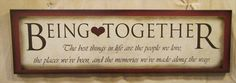 Wood sign, Being Together, family sign, farmhouse decor, wall decor, art print, graphic art, original design, by Laurie Sherrell-Maurey by lauriesherrell on Etsy