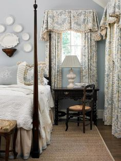 <3 serene cottage bedroom - the draperies may be a bit heavy for me, but I love the rest!