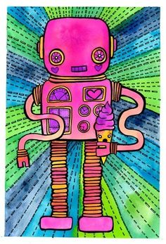 Robot Cone print by Michelle Cavigliano Primary School Art, 2nd Grade Art, Second Grade, Robot Art, Robots, School Art Projects, Art Lessons Elementary, Art Lesson Plans, Art Classroom