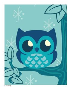 'Cute Blue Owl' by Geri Shields