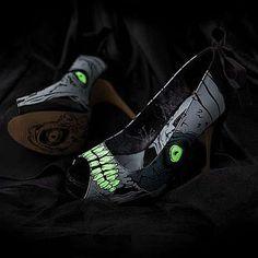 ZOMBIE STOMPER Platform Pumps by Iron Fist Shoes. Open toe Iron Fist Zombie Stomper Glow in the dark platform pumps with high heel and concealed platform. Iron Fist Heels, Glow Shoes, Exquisite Corpse, The Frankenstein, Estilo Fashion, Women's Fashion, Spike Heels, Platform Pumps, Resident Evil