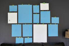 """forma sencilla de organizar la colocación de una """"galería"""" antes de ponerse a colgar a lo loco"""