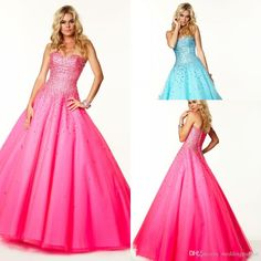 2015 Newest Hot Sale Sweetheart Neck Handmade Beaded Tulle Satin Hot Pink Custom Made Long A-line Fashion Evening Prom Dresses Online with $113.09/Piece on Weddingpalace's Store | DHgate.com