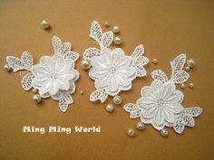 Venice Lace Applique 4 pcs Ivory Flower Applique by mingmingworld