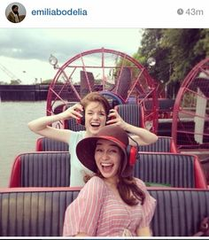 Emilia Clarke and Rose Leslie. Beauties! Love the hat and the picture