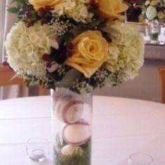 Floral vase with Baseballs!