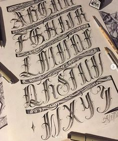 Tattoo Lettering Alphabet, Tattoo Lettering Design, Calligraphy Letters Alphabet, Chicano Lettering, Graffiti Lettering Fonts, Creative Lettering, Script Lettering, Letras Tattoo, Letter Stencils