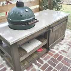 DIY Big Green Egg Table with Concrete Top and Barn Door | The Lowcountry Lady