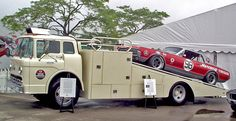 Bud Moore racing's 1967 Trans-Am team transporter, a Ford C-600 COE with a ramp deck