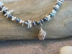 Gray Freshwater Pearl and White Coral Anklet with Silverplated Seashell Dangle by ROOTSJewelryandGifts on Etsy