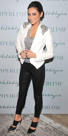 SHAY MITCHELL We were planning to go full sequin mini for our holiday parties this weekend, but Shay's cool-sexy-festive outfit – a Haute Hippie blazer, Piperlime Collection leggings and Carrano shoes – is making us reconsider and keep the sparkle just on our shoulders instead. She wore the ensemble to a party at Piperlime's N.Y.C. store.