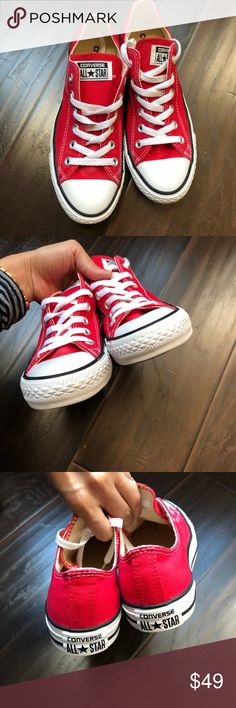 Red Converse (Unisex) Used converse all ⭐️. This is also in awesome condition pls check out the pictures and make an offer  thanks guys  Size: 6 men and 8 women Converse Shoes Sneakers