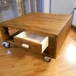 Recycled pallets and bring sophisticated wooden models of coffee tables in home just like this DIY pallet coffee table with 2 drawers fitted to a corner of Recycled Pallets, Wooden Pallets, Recycled Materials, Wooden Pallet Coffee Table, Pallet Tables, Coffee Tables, Coffee Table With Wheels, Wooden Furniture, Furniture Ideas