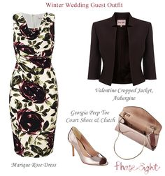Phase Eight Mother of the Bride and winter wedding guest outfits. Rose print cowl neck jersey dress and cropped jacket.