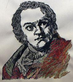 """William Blake"" by Bascom Hogue, hand drawn portrait using a sewing machine"