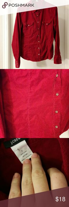 Red Courdory J Crew Pearlsnap Buttondown Red Courdory J Crew Pearlsnap Button down Shirt Size Large Come from a pet free smoke free home J. Crew Tops Button Down Shirts